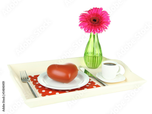Wooden tray with breakfast,  isolated on white