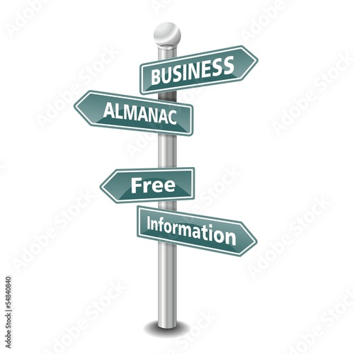 BUSINESS ALMANAC icon as signpost - NEW TOP TREND