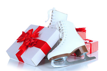 Figure skates in gift box isolated on white