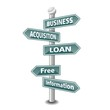 BUSINESS ACQUISITION LOAN icon as signpost - NEW TOP TREND