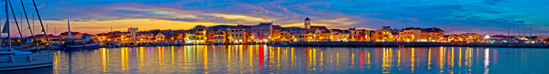 Vodice waterfront colorfu evening panorama