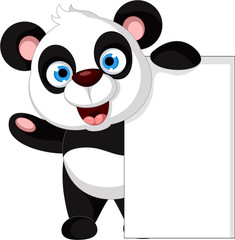cute panda cartoon posing with blank sign