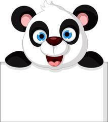 cute panda cartoon posing with blank sign