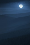 Layered Midnight Misty Mountain Moonrise With Vast Forest poster