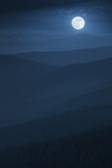 Layered Midnight Misty Mountain Moonrise With Vast Forest