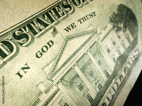 American Dollar In God We Trust Inscription Highlighted