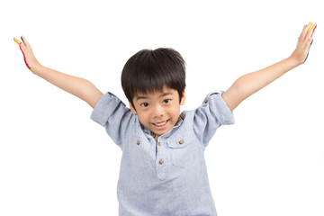 happy asian cute boy extend his arms with smiling
