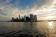 Lower Manhattan panorama of the East River in the rays of the ri