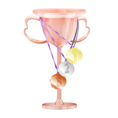 Cup with medals.