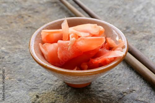 Leinwanddruck Bild pickled ginger for sushi - Japanese spices