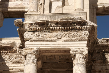 Detail of the library of Celsus in Ephesus