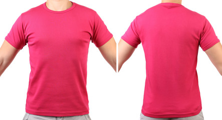 Red T-shirt. Back. Front.