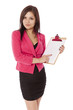 Young woman in business outfit holds a blank clip board.