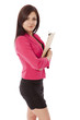 Young woman in business outfit clutching a clipboard.