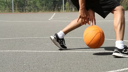 Basketball Player Bouncing the Ball