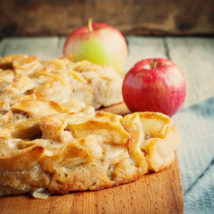 Apple pie, square composition and toned image