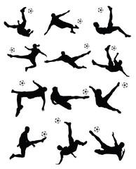 soccer player super kick vector