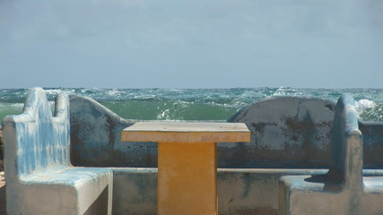Picnic table at ocean