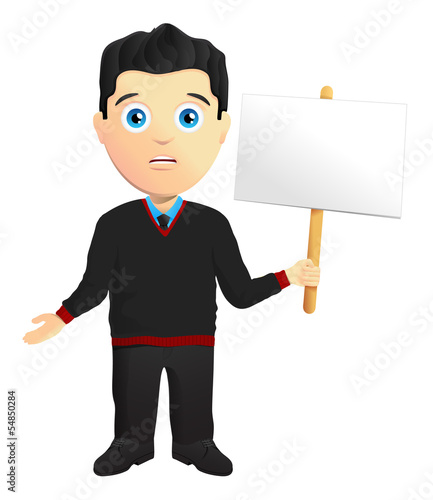 Man In A Pullover Holding A Sign