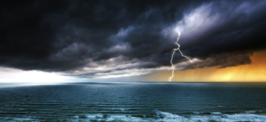 Lightning and Stormy Weather Over Sea - Panorama