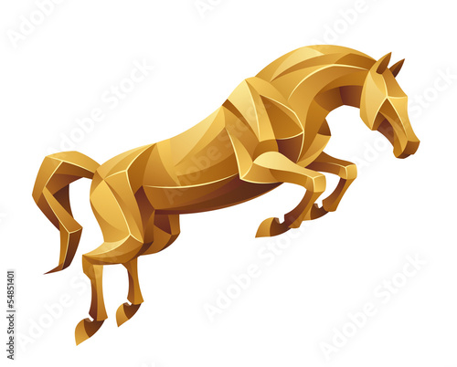 Poster Pony Golden horse jumping