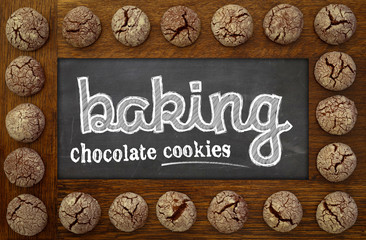 Baking Chalkboard, wooden frame and chocolate cookies