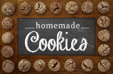 Homemade Cookies Chalkboard, wooden frame and chocolate cookies