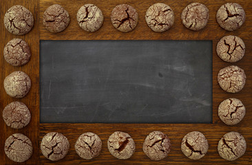 Blank Blackboard, Empty Chalkboard wooden frame and chocolate co