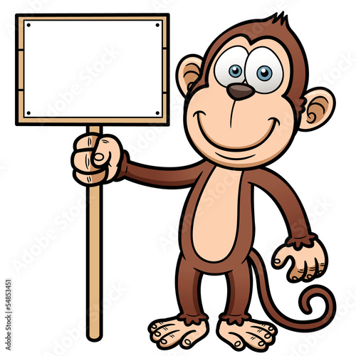 Vector illustration of Cartoon monkey with wooden sign