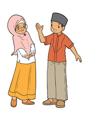 Indonesian boy and girl muslim talking