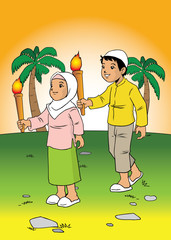 Indonesian muslim boy and girl walking in the village