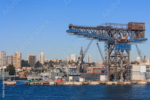 rusty cranes in Sydney Harbour