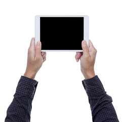 Man hands hold digital tablet isolated on white background