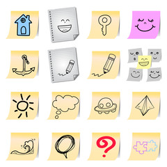 hand drawing cartoon on paper note stickers