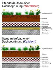 Standardaufbau einer Dachbegrünung