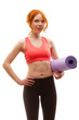 woman holding fitness mat