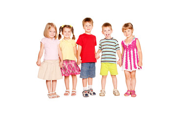 Funny group of little children holding hands
