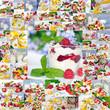 Gesunder Sommer-Genuss / Früchte / Milchprodukte / Collage