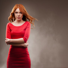 sexual woman wearing red dress