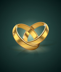 golden wedding rings vector illustration. eps10.  Transparent