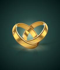 golden wedding rings vector illustration. eps10.  Transparent