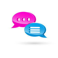 Pink blue speech bubble icon 3d