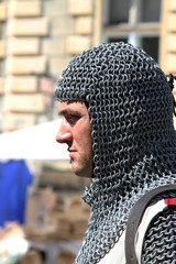 profile of squire with hood of mail