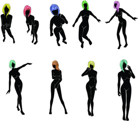 silhouette of women with colorful  hair  in various actions