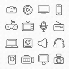 device and multimedia symbol line icon