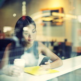 Cafe city lifestyle woman on phone drinking coffee - Fine Art prints