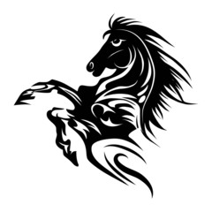 Horse tattoo symbol for design isolated emblem or logo template.