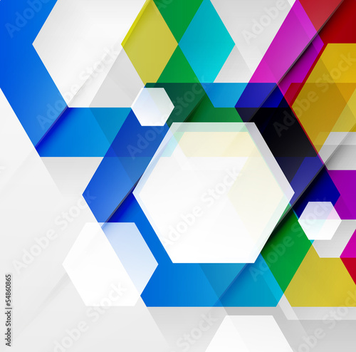 Rainbow hexagons modern design template