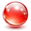3D glass sphere red.