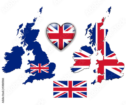 United Kingdom, England flag, map set.